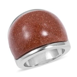Jewelry - Goldstone Stainless Steel Ring (Size 6.0) TGW 25.0